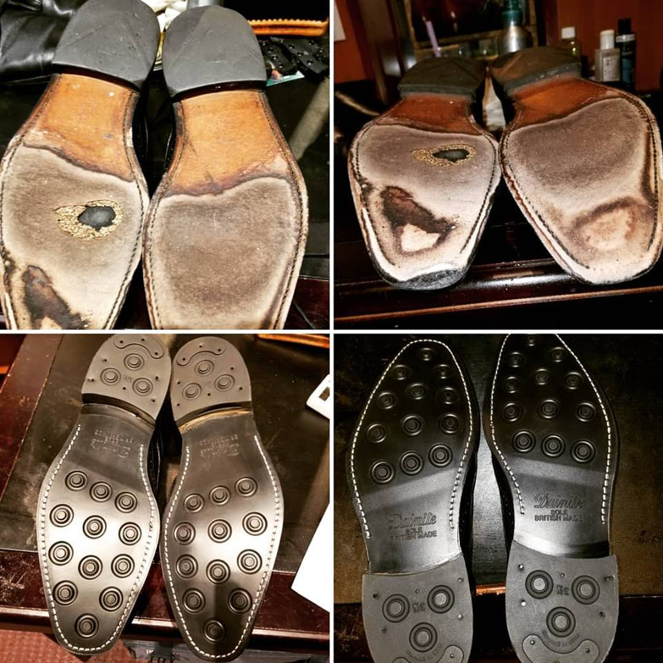 Dainite soles on Allen Edmonds - Before and After