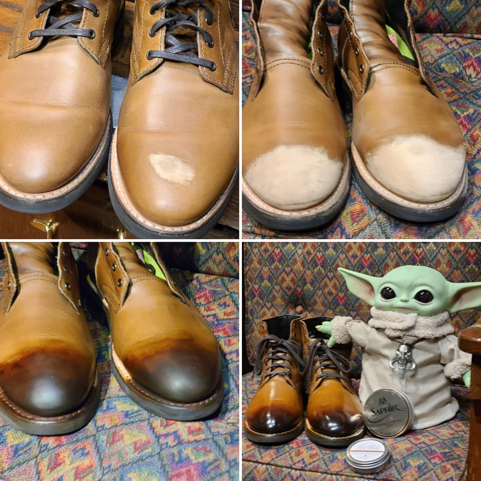 Transformation of a burnished toe on a pair of Thursday Boot Co. 2020